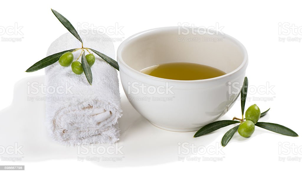 Hands olive spa concept. stock photo