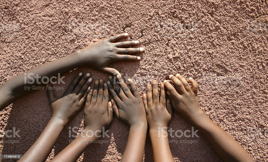 Hands on A Wall royalty-free stock photo