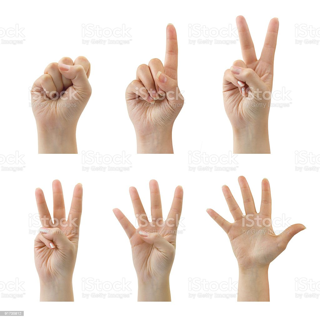 Hands on a white background counting from zero to five stock photo