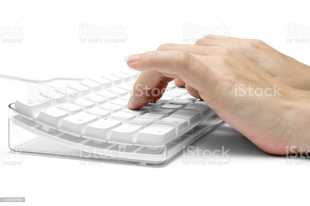 Hands on a White Computer Keyboard royalty-free stock photo