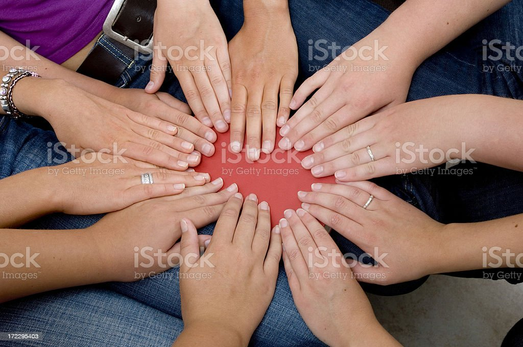 hands on book royalty-free stock photo