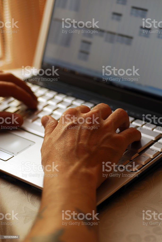 Hands on computer royalty-free stock photo