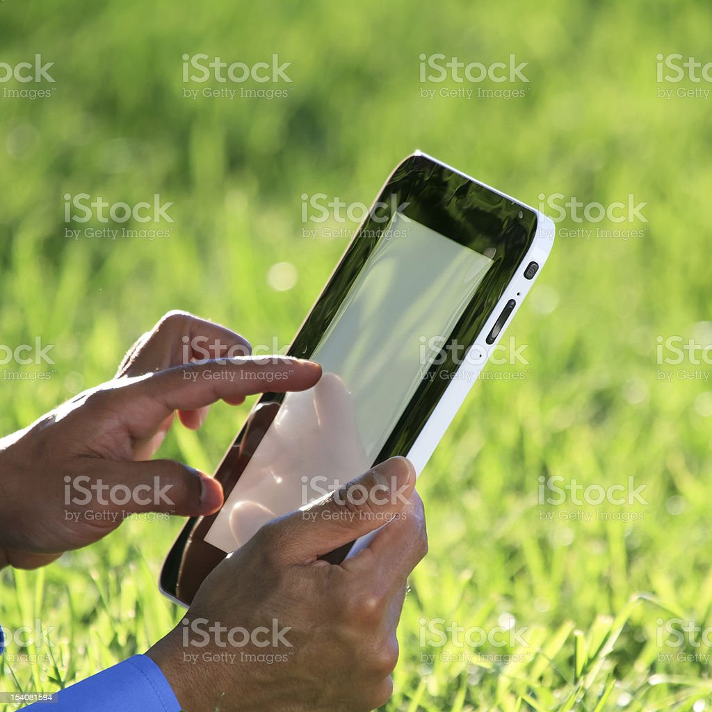 hands on digital tablet royalty-free stock photo