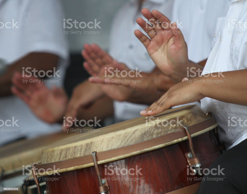 Hands on drums stock photo
