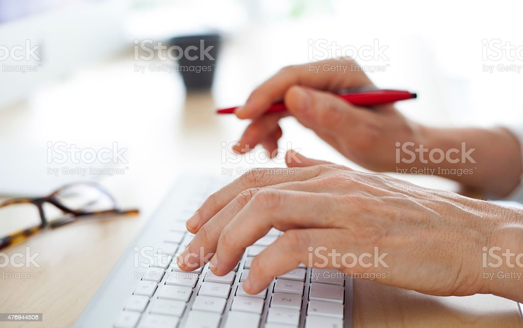 Hands on keyboard stock photo