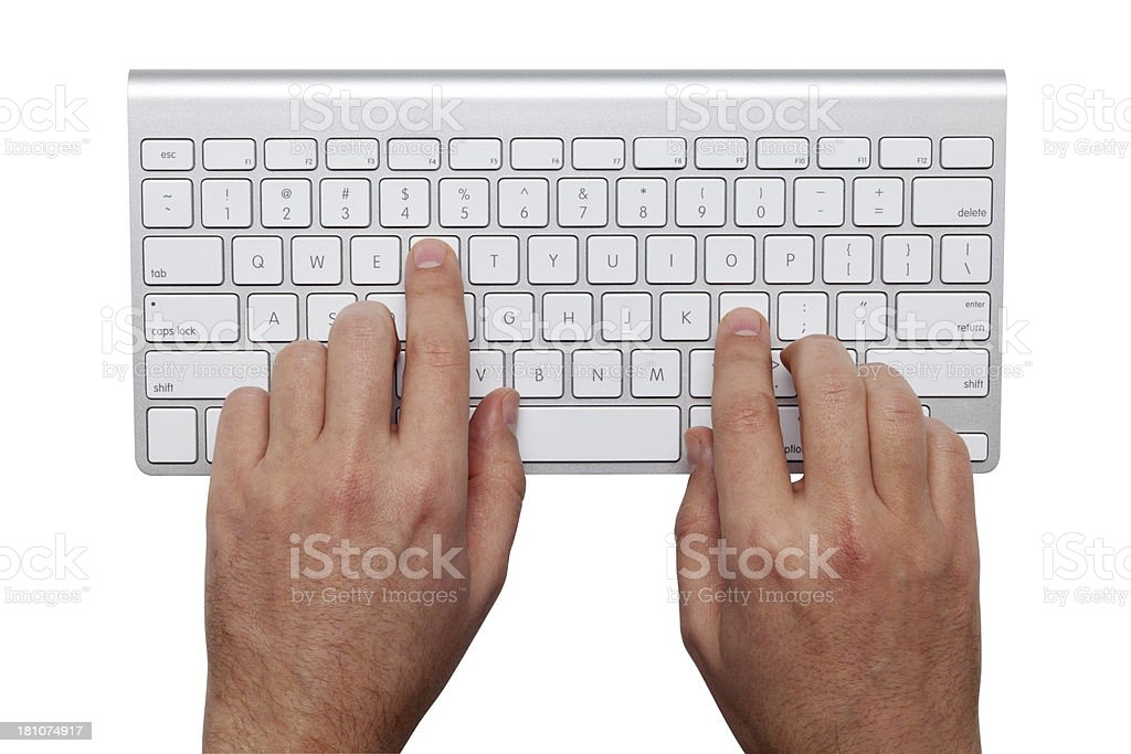 Hands On Keyboard With Clipping Path royalty-free stock photo