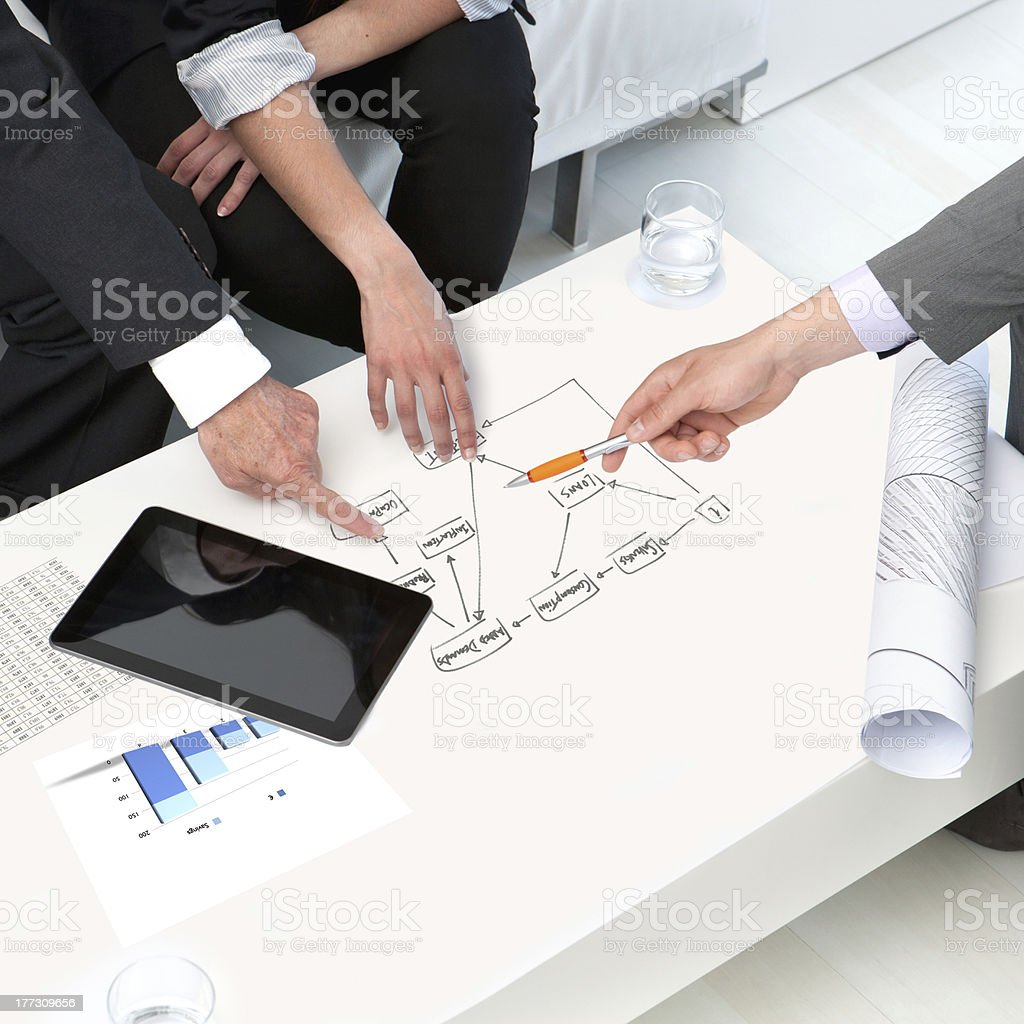 Mains sur les documents à la réunion d'affaires. photo libre de droits