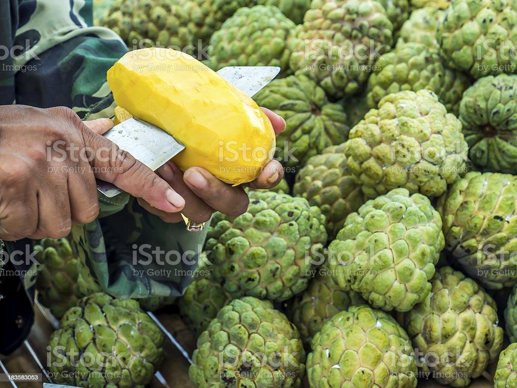 hands on peeling mango fruit royalty-free stock photo