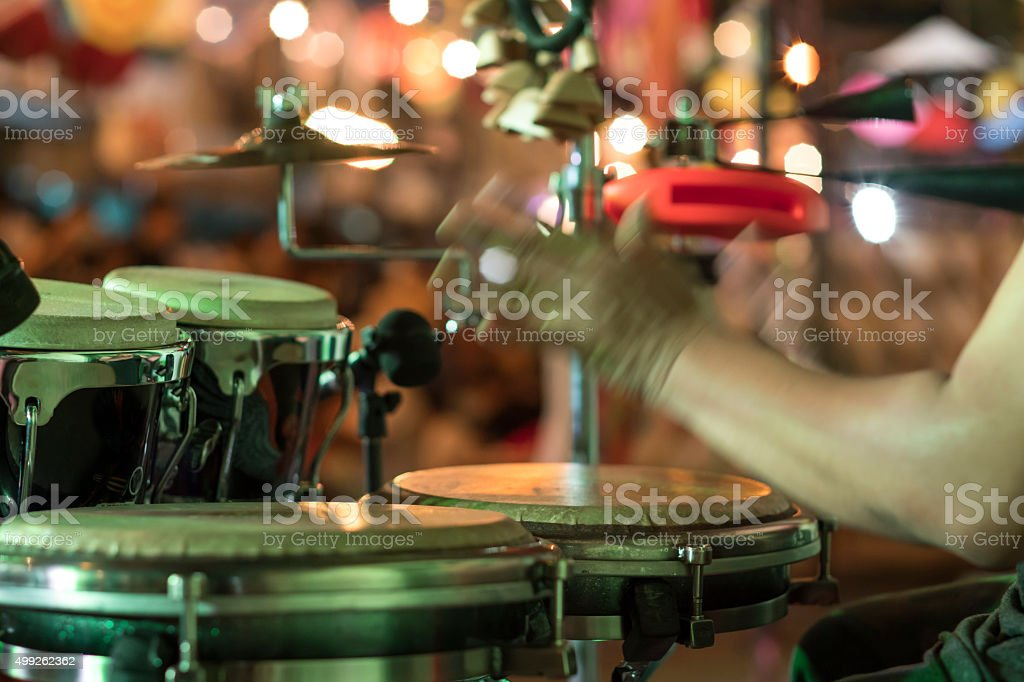 Hands on percussion, Street music background stock photo