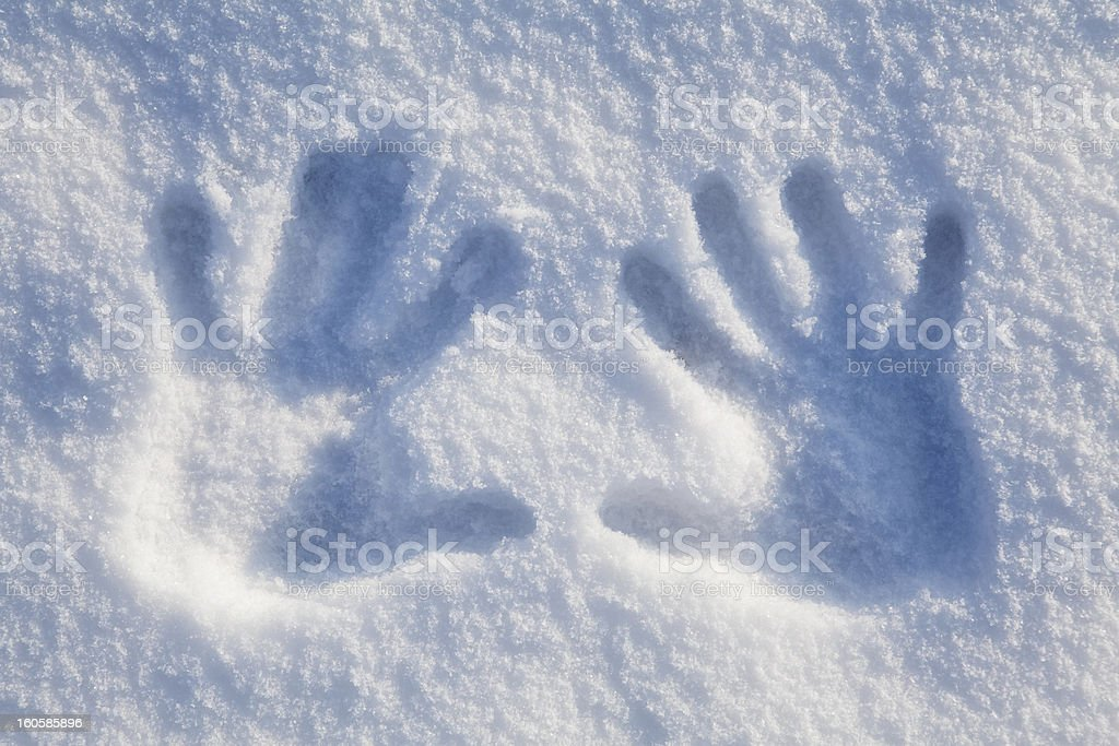 Hands on snow royalty-free stock photo