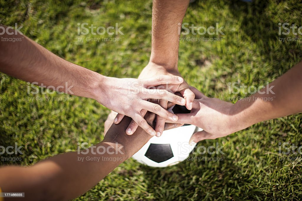 Hands on Soccer Ball. stock photo