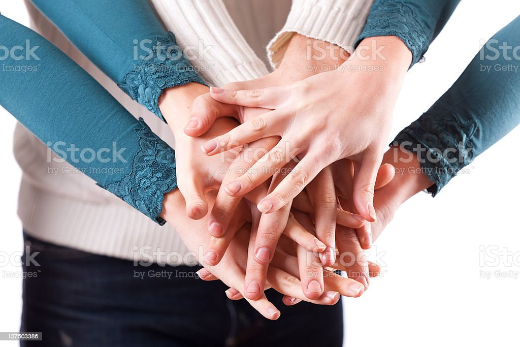 Hands on Stack royalty-free stock photo