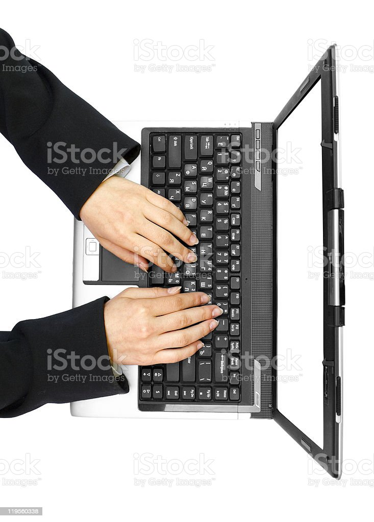 hands on the laptop stock photo