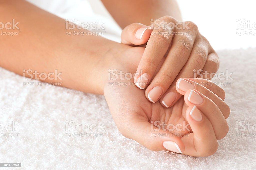 Hands on towel stock photo