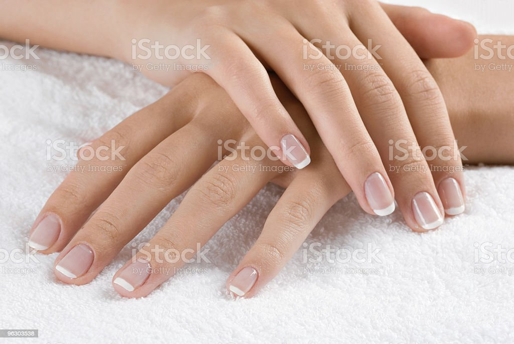 Hands on towel royalty-free stock photo