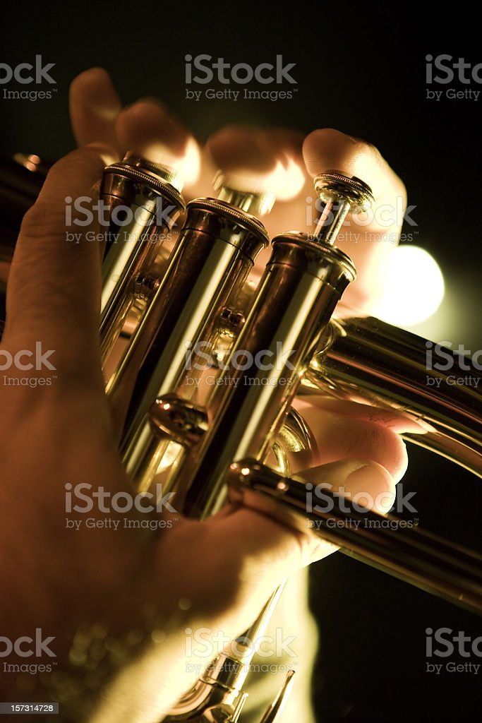 Hands on trumpet royalty-free stock photo