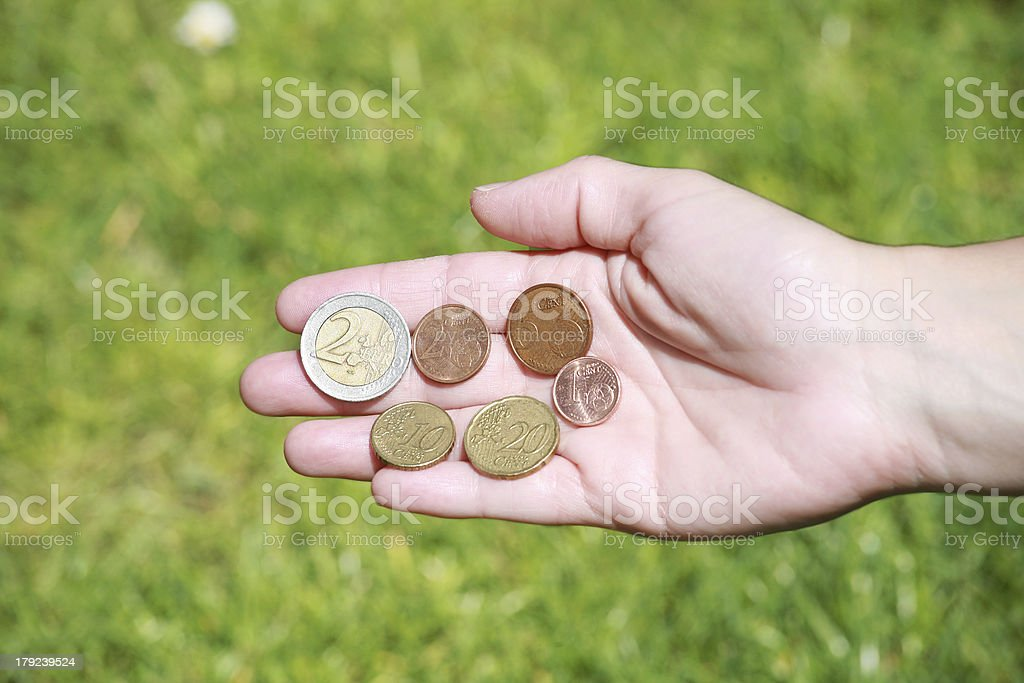 hands opened with euro coins royalty-free stock photo