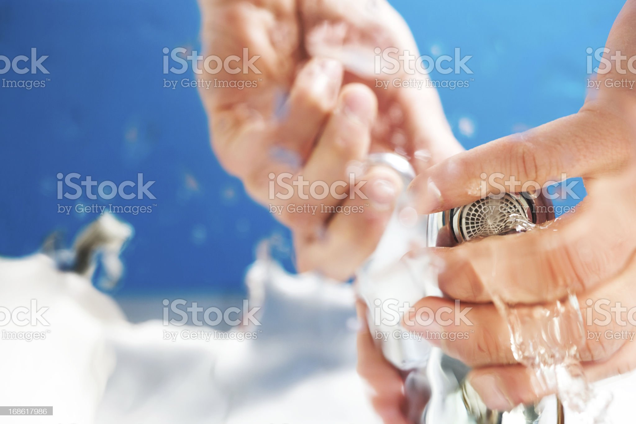 hands opening water tap royalty-free stock photo