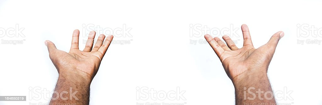 hands outstratched in gratitude on white background royalty-free stock photo
