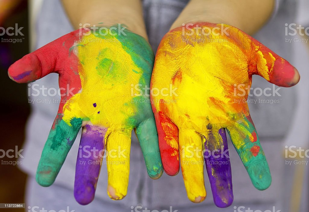 hands painted stock photo