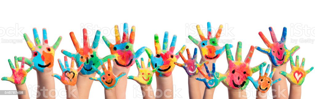Hands Painted With Smileys stock photo
