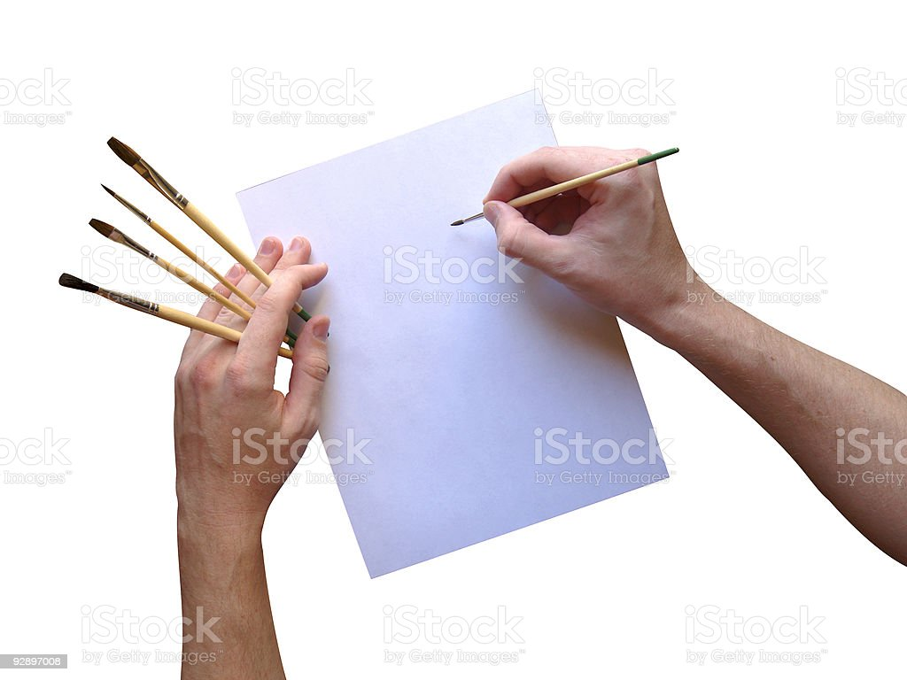 Hands painting - whatever you want! (clipping paths included) stock photo