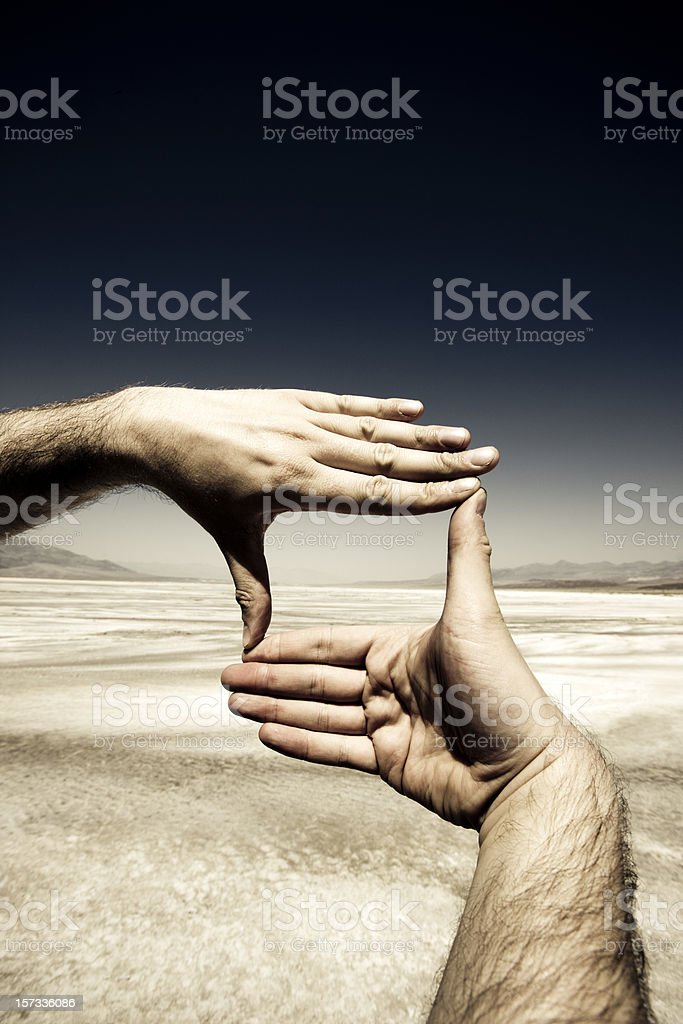 Hands Photo Frame, Death Valley. stock photo
