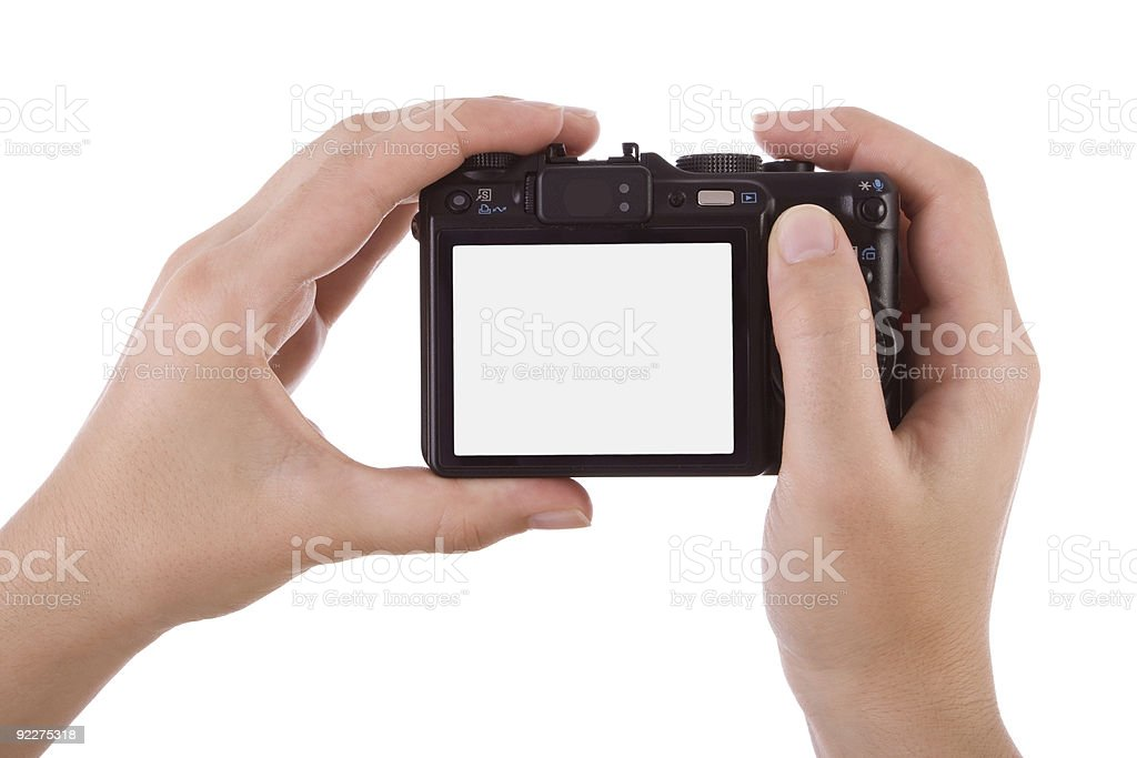 Hands photographing with a digital camera royalty-free stock photo