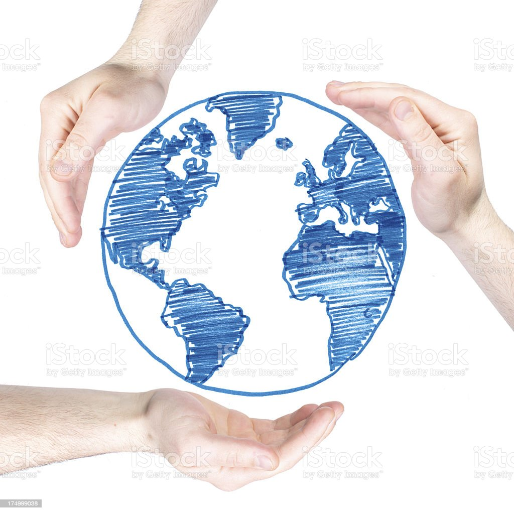 Hands Protecting Earth royalty-free stock photo