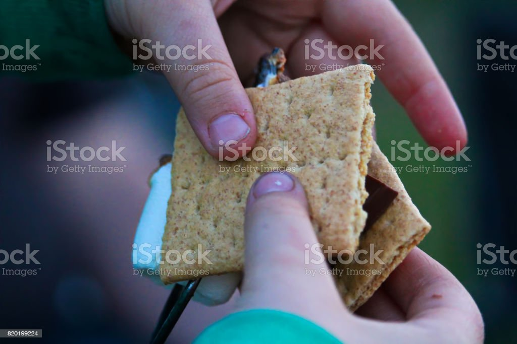 Hands pulling a marshmallow off a skewer to make a smore stock photo