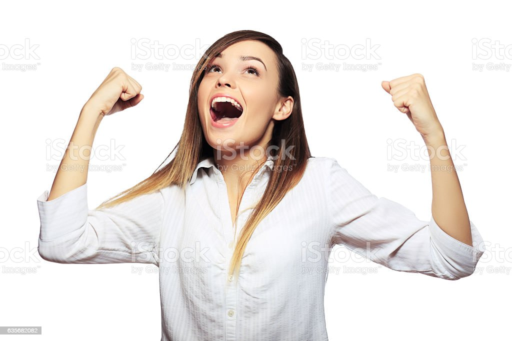 hands raised excited stock photo