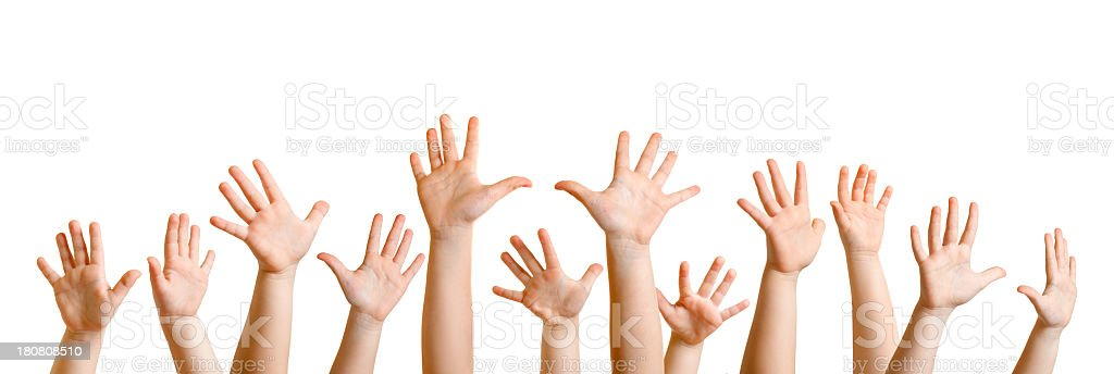 Hands Raised of Children royalty-free stock photo
