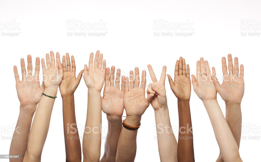 Hands Raised stock photo