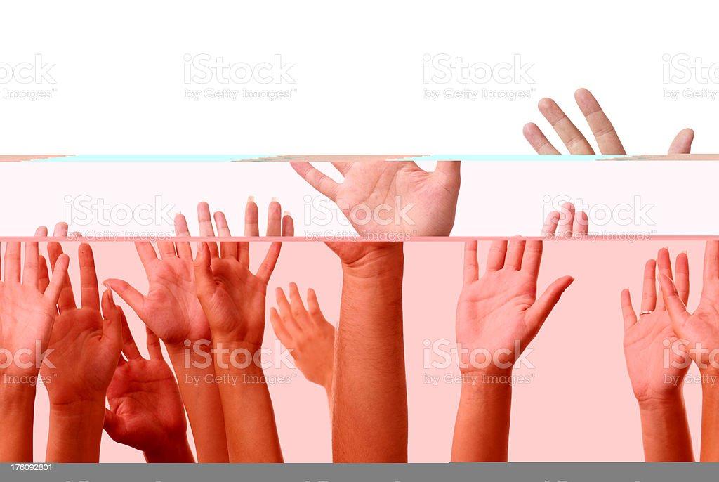 Hands raised royalty-free stock photo