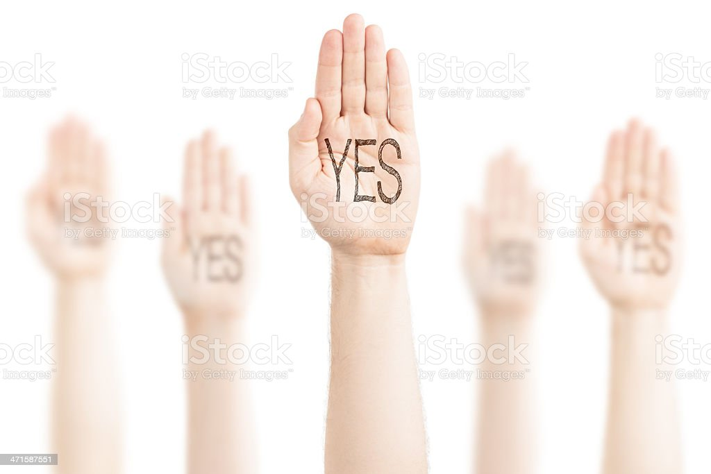 Hands raised to the sky and saying Yes. stock photo