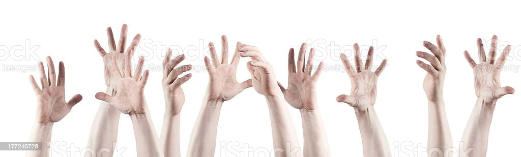 hands raised up royalty-free stock photo