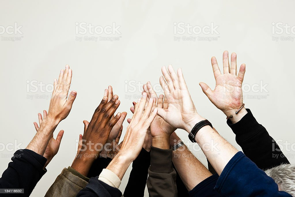 Hands reaching for the sky royalty-free stock photo