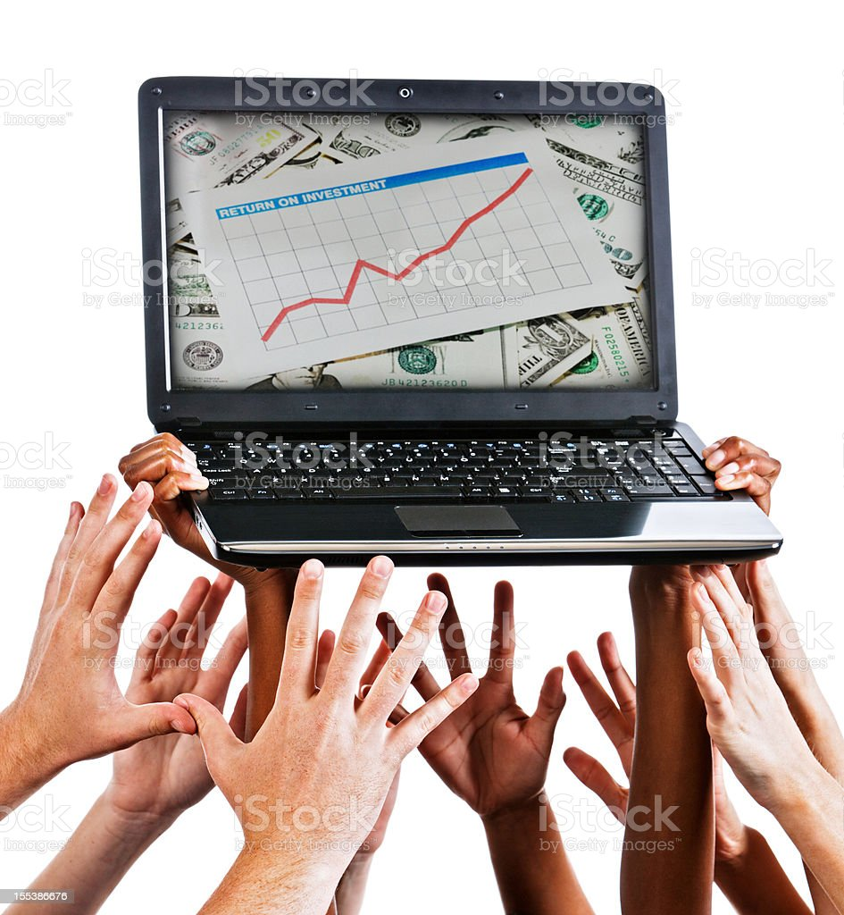 Hands reaching for upward mobility graph on laptop royalty-free stock photo