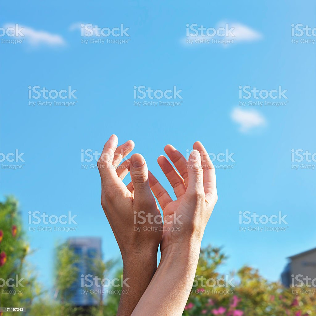 Hands reaching up royalty-free stock photo