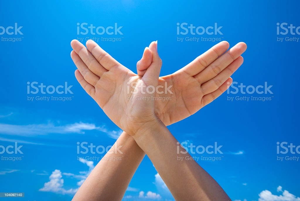 Hands representing world peace stock photo