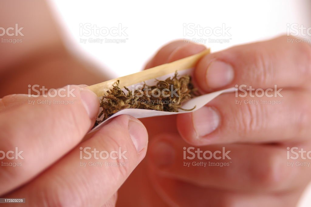 Hands rolling a joint of cannabis in a rolling paper stock photo