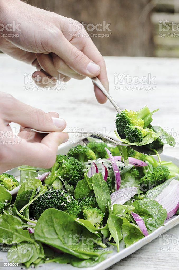 Hands serving some freshly tossed green salad stock photo