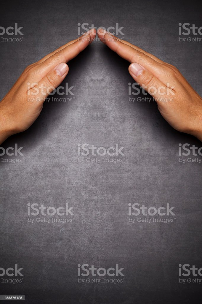 hands show protection stock photo