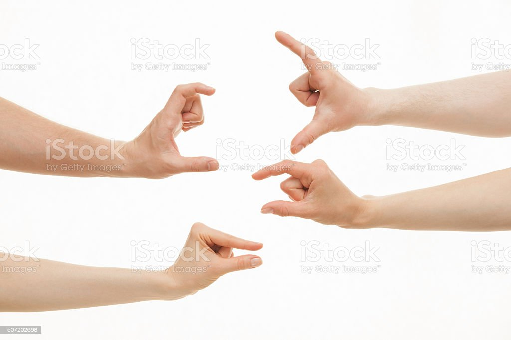 Hands showing different sizes - from small to big stock photo