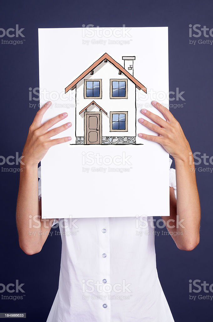 Hands Showing Sketched Model Home Sign royalty-free stock photo