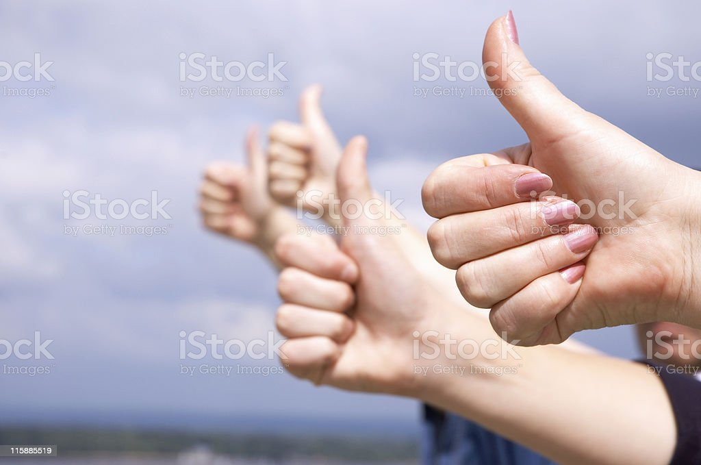 hands showing success royalty-free stock photo
