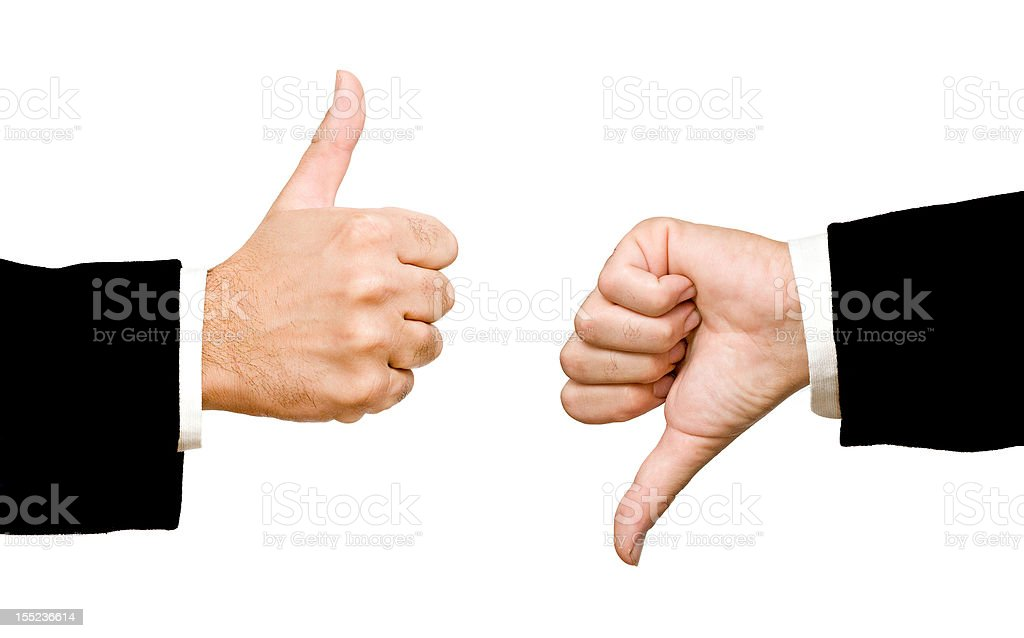 hands showing thumb up and  down royalty-free stock photo