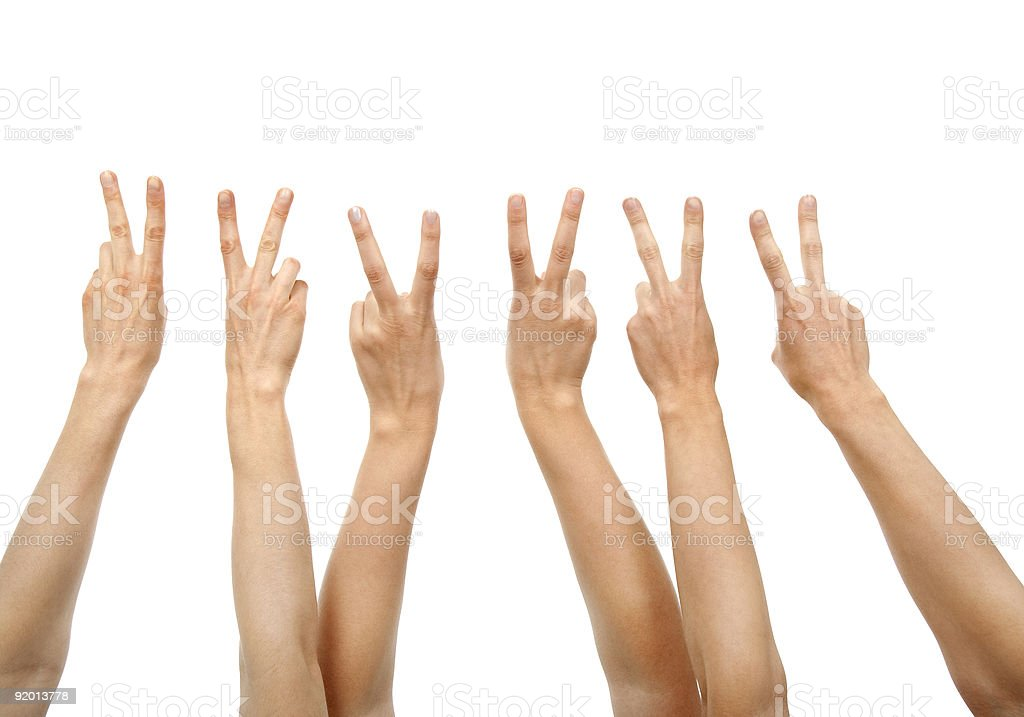 Hands showing victory sign royalty-free stock photo