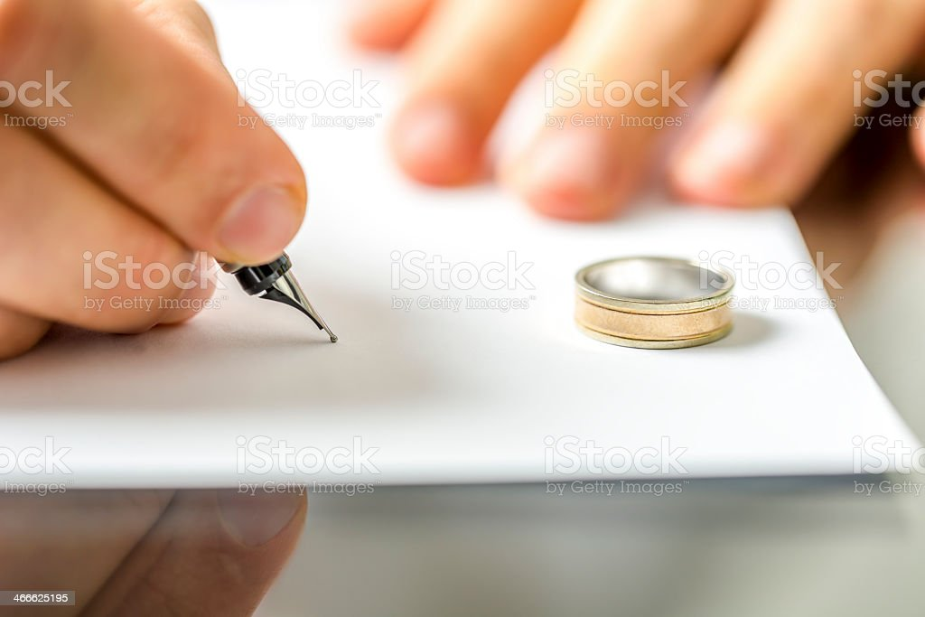 Hands signing divorce papers with wedding ring on table stock photo