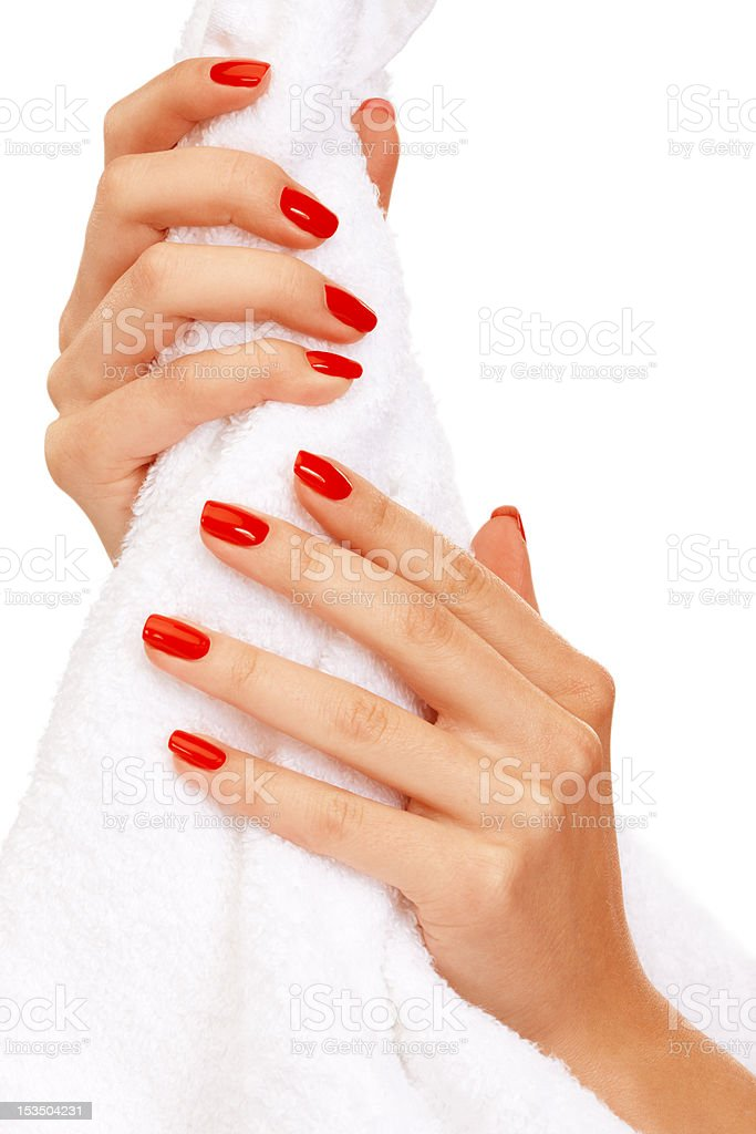 Hands squeezing towel royalty-free stock photo